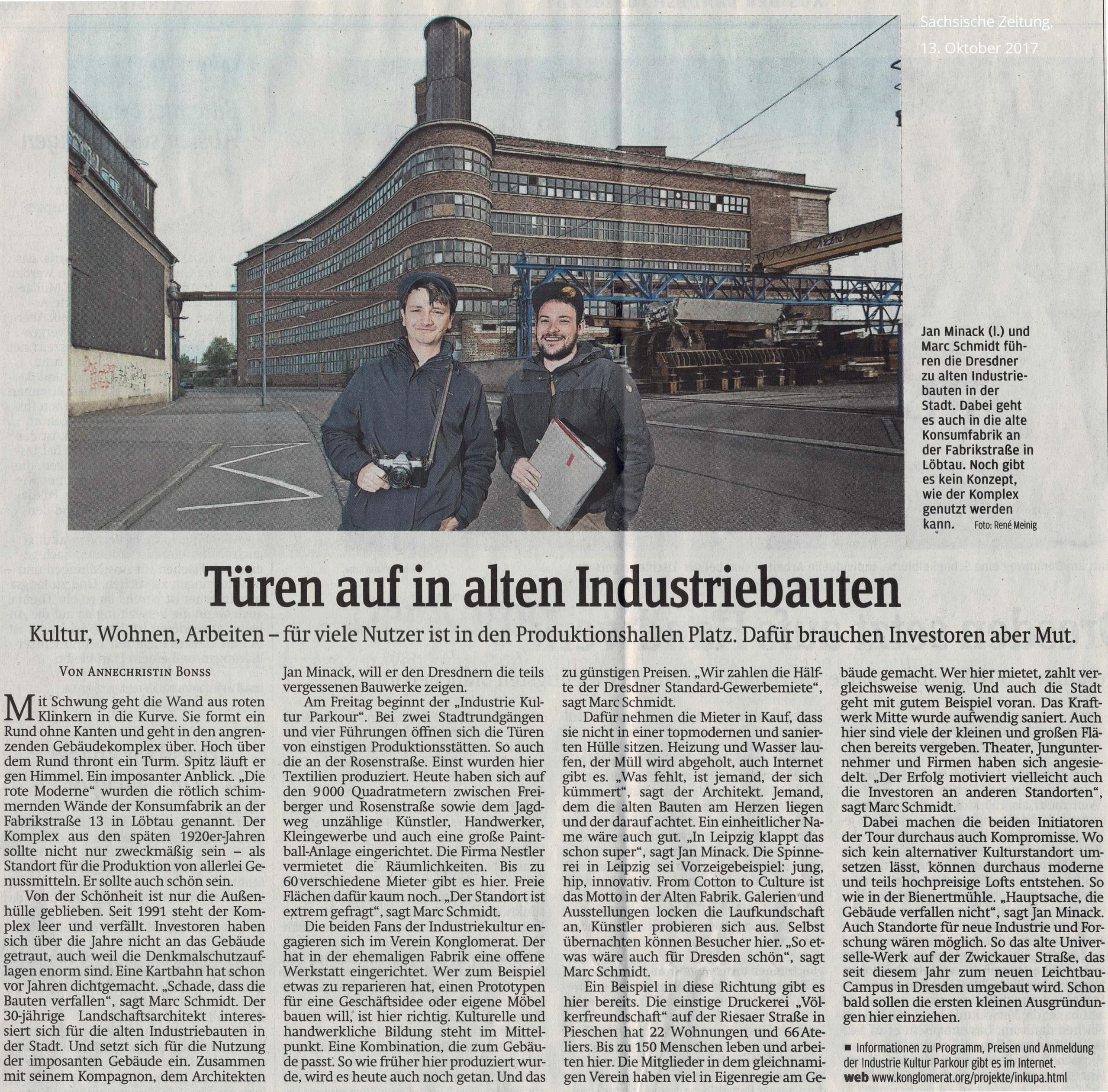 Artikel aus der Sächsischen Zeitung vom 13. Oktober 2017